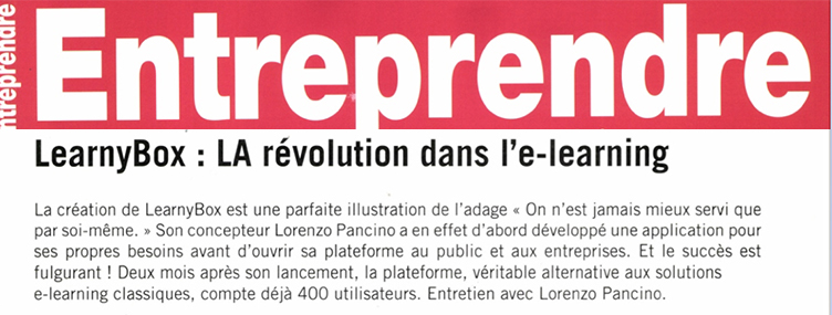 """[Presse] Entreprendre """"LearnyBox : LA révolution dans l'e-learning"""""""