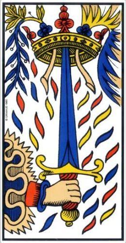 les lames mineures du tarot de marseille, les épées