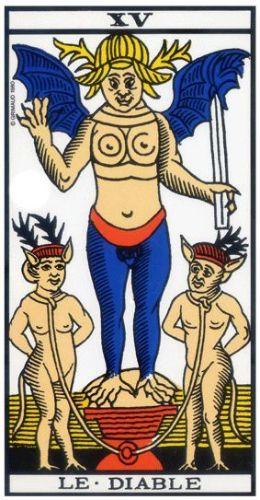 Le Tarot de Marseille carte 15 le diable