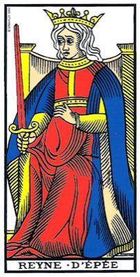 reine des épées tarot de marseille , bykokolou.com