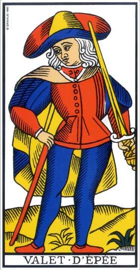 valet des épées tarot de marseille , bykokolou.com
