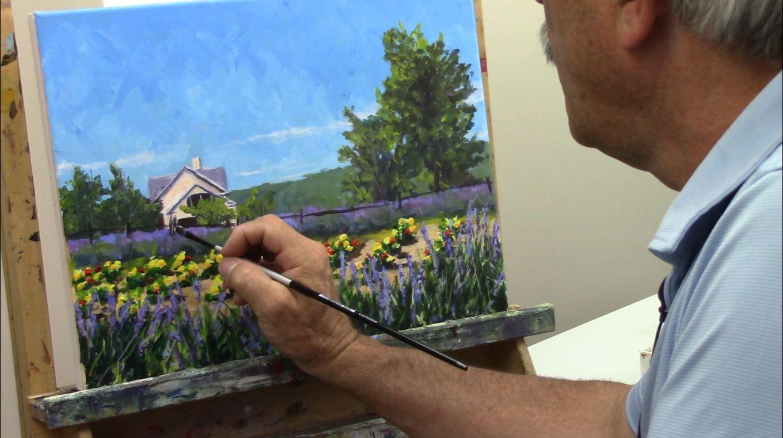 Un paysage en peinture acrylique