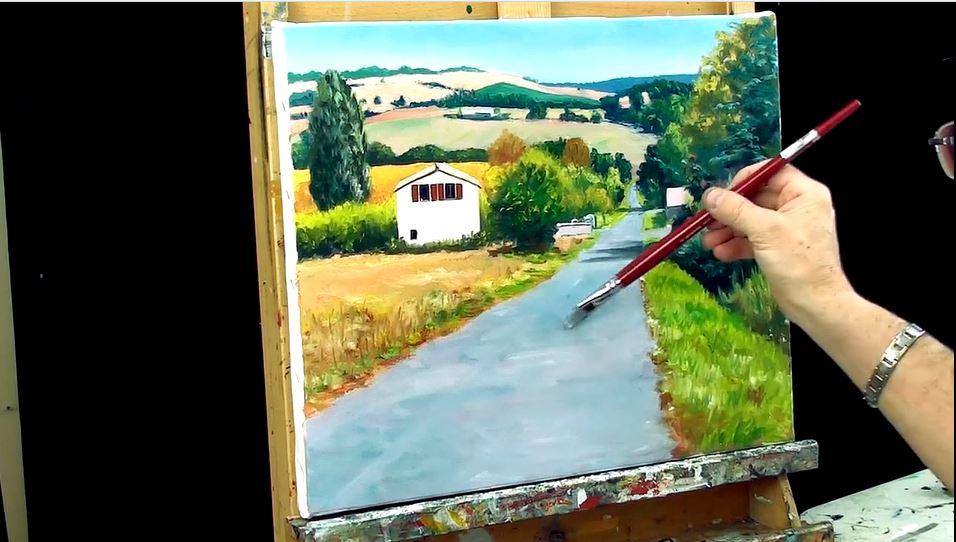 Cours de peinture en ligne. Un paysage en