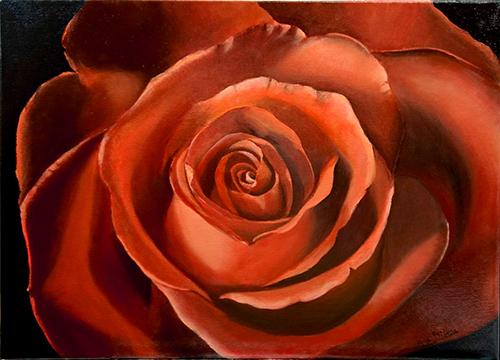 Peindre les roses avec la technique du glacis- Dernière étape.