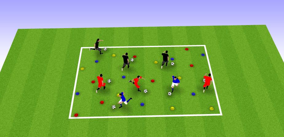 Exemple d'exercice de conduite de balle et organisation perceptive