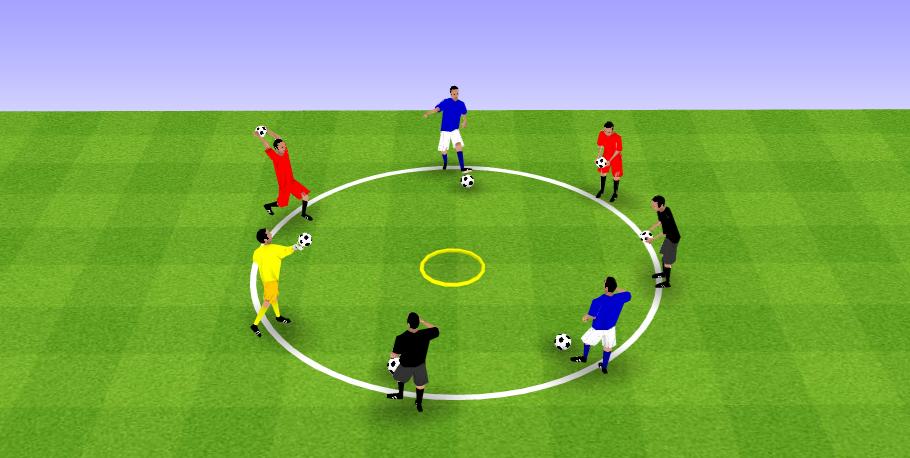 Exercice de coordination chez les jeunes footballeurs