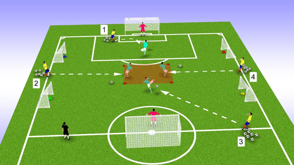 Exercice d'endurance pour jeunes footballeurs