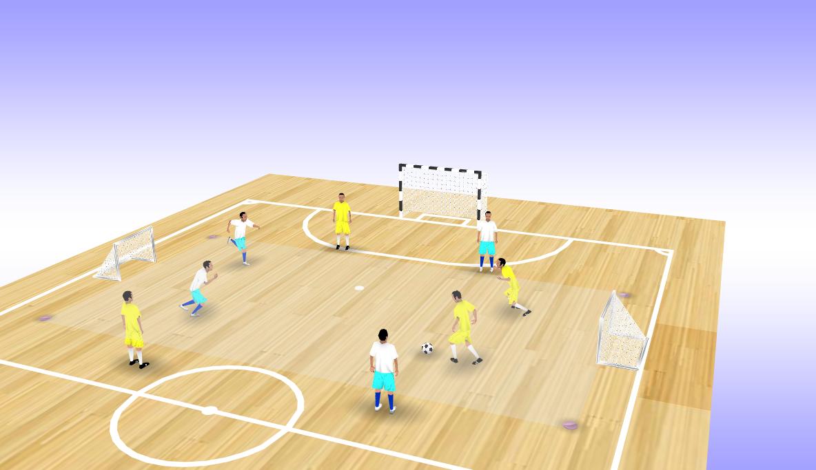 Exemple d'exercice 2 contre 2 avec appuis sur les côtés