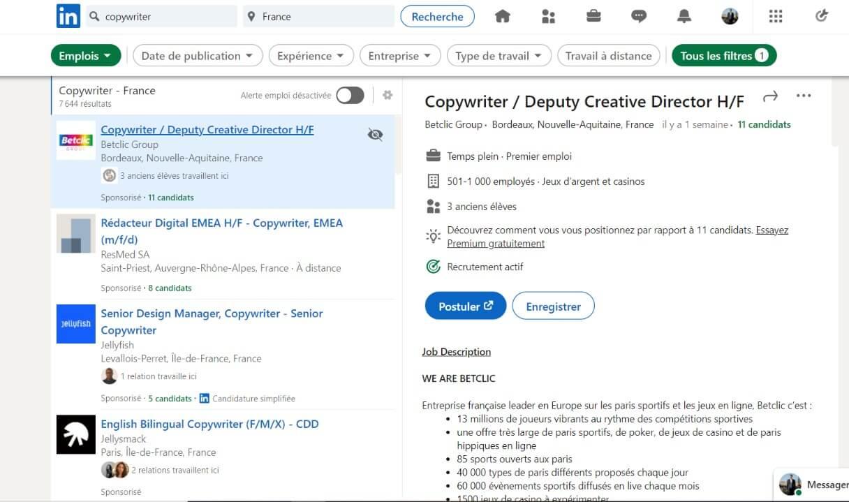 7500 emplois et offres pour Copywriters sur Linkedin