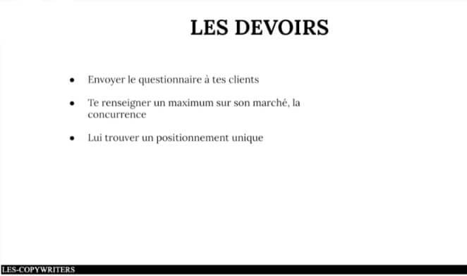 Exemple de devoirs à faire provenant de la formation Les Copywriters de Joseph et Benoit