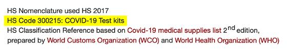 Code produit Covid19