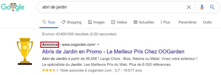 annonce sur google
