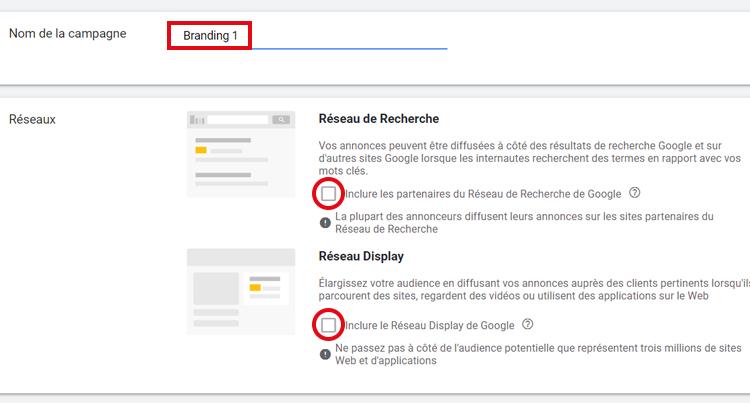réseau de recherche google ads