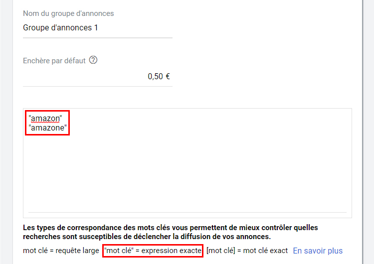 groupe d'annonce google ads