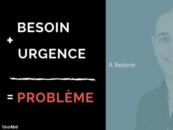 Technique de vente : Besoin + Urgence = Problème