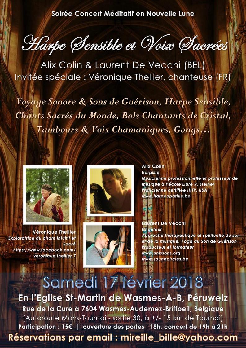 17/02/2018 - Péruwelz (BEL) | Soirée Concert Méditatif, Harpe Sensible & Voix Sacrées