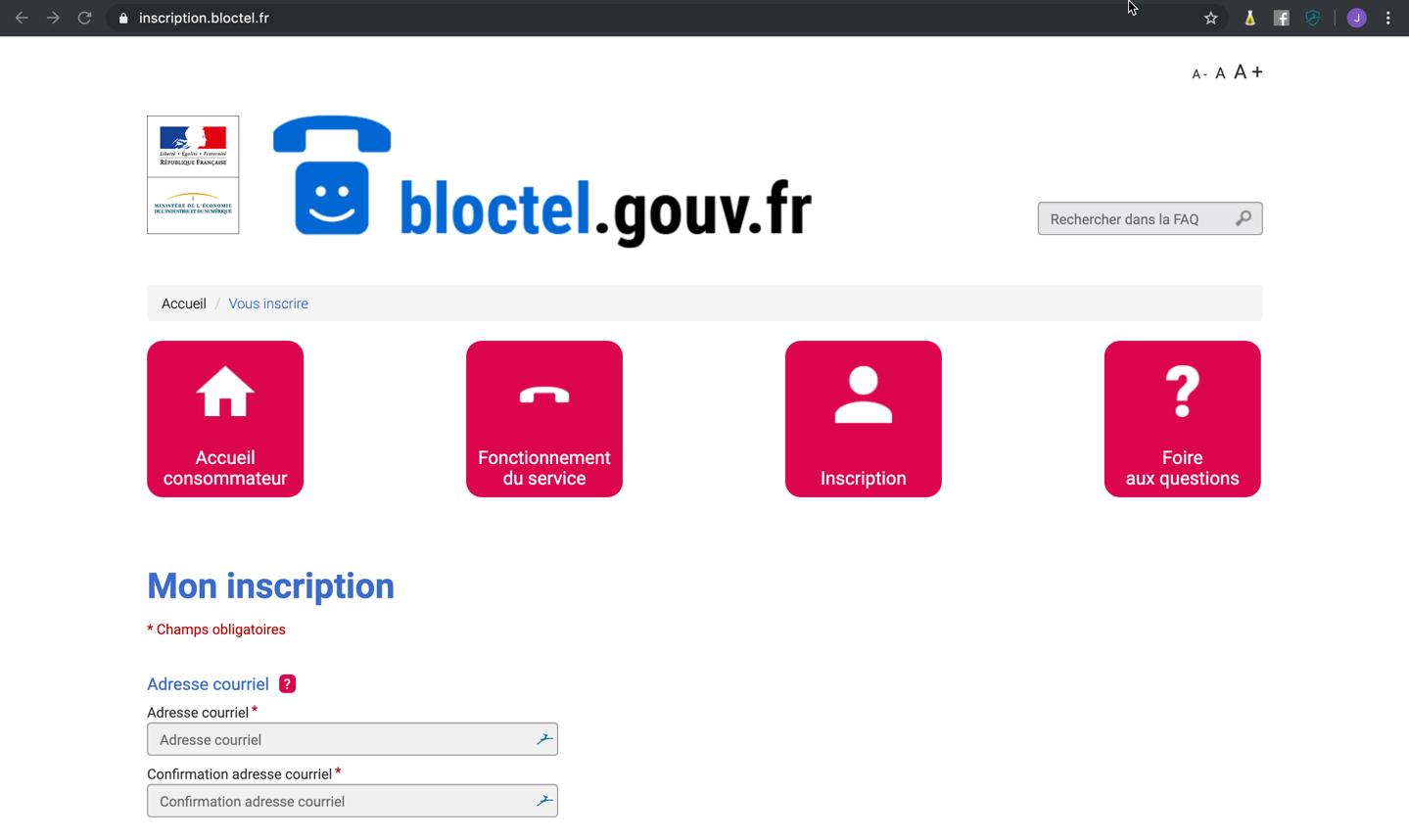 Capture d'écran de pas page inscription de bloctel.gouv.fr