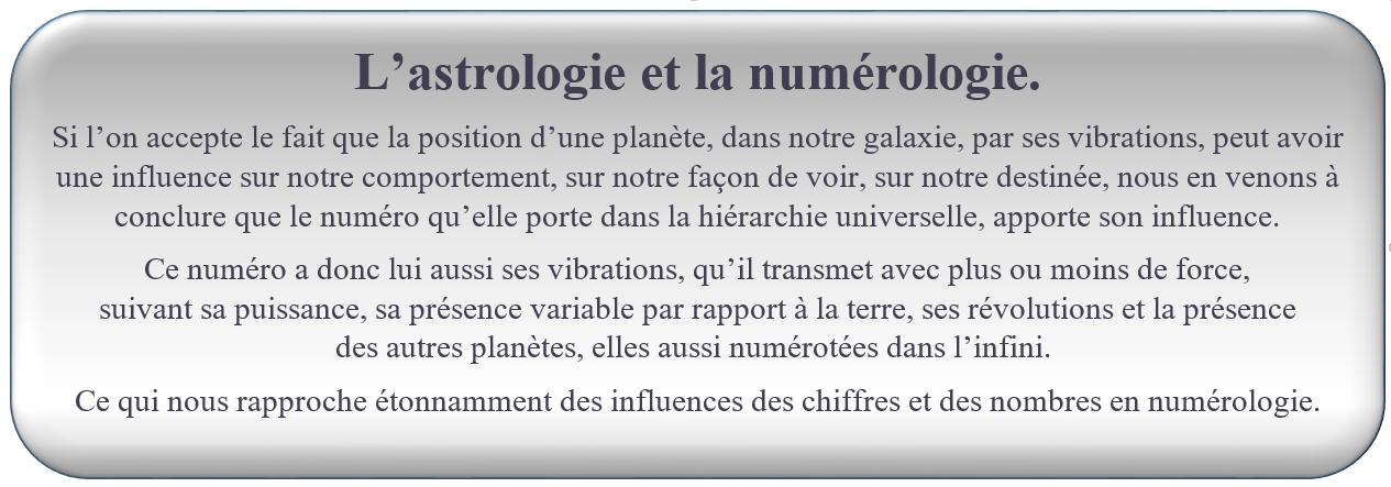 L'astrologie et la numérologie. FORMATION NUMÉROLOGIE GRATUITE Si l'on accepte le fait que la position d'une planète, dans notre galaxie, par ses vibrations, peut avoir une influence sur notre comportement, sur notre façon de voir, sur notre destinée, nous en venons à conclure que le numéro qu'elle porte dans la hiérarchie universelle, apporte son influence. Ce numéro a donc lui aussi ses vibrations, qu'il transmet avec plus ou moins de force,                        suivant sa puissance, sa présence variable par rapport à la terre, ses révolutions et la présence                des autres planètes, elles aussi numérotées dans l'infini.  Ce qui nous rapproche étonnamment des influences des chiffres et des nombres en numérologie.