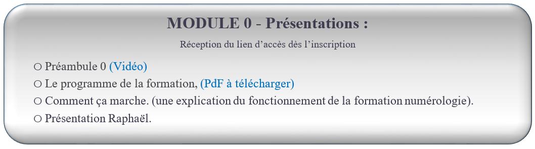 MODULE 0 - Présentations : FROMATION NUMÉROLOGIE GRATUITE   Réception du lien d'accès dès l'inscription                                                  oPréambule 0 (Vidéo) oLe programme de la formation, (PdF à télécharger) oComment ça marche. (une explication du fonctionnement de la formation numérologie). oPrésentation Raphaël.