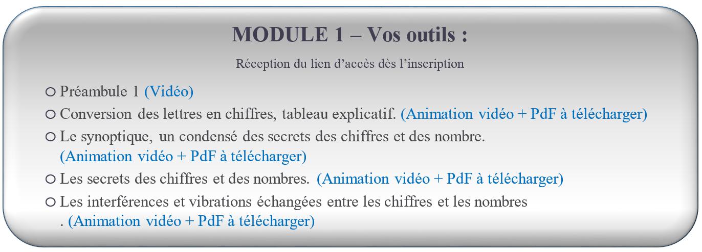 MODULE 1 – Vos outils : FORMATION NUMÉROLOGIE GRATUITE Réception du lien d'accès dès l'inscription                                                      oPréambule 1 (Vidéo) oConversion des lettres en chiffres, tableau explicatif. (Animation vidéo + PdF à télécharger) oLe synoptique, un condensé des secrets des chiffres et des nombre. (Animation vidéo + PdF à télécharger) oLes secrets des chiffres et des nombres. (Animation vidéo + PdF à télécharger) oLes interférences et vibrations échangées entre les chiffres et les nombres . (Animation vidéo + PdF à télécharger)