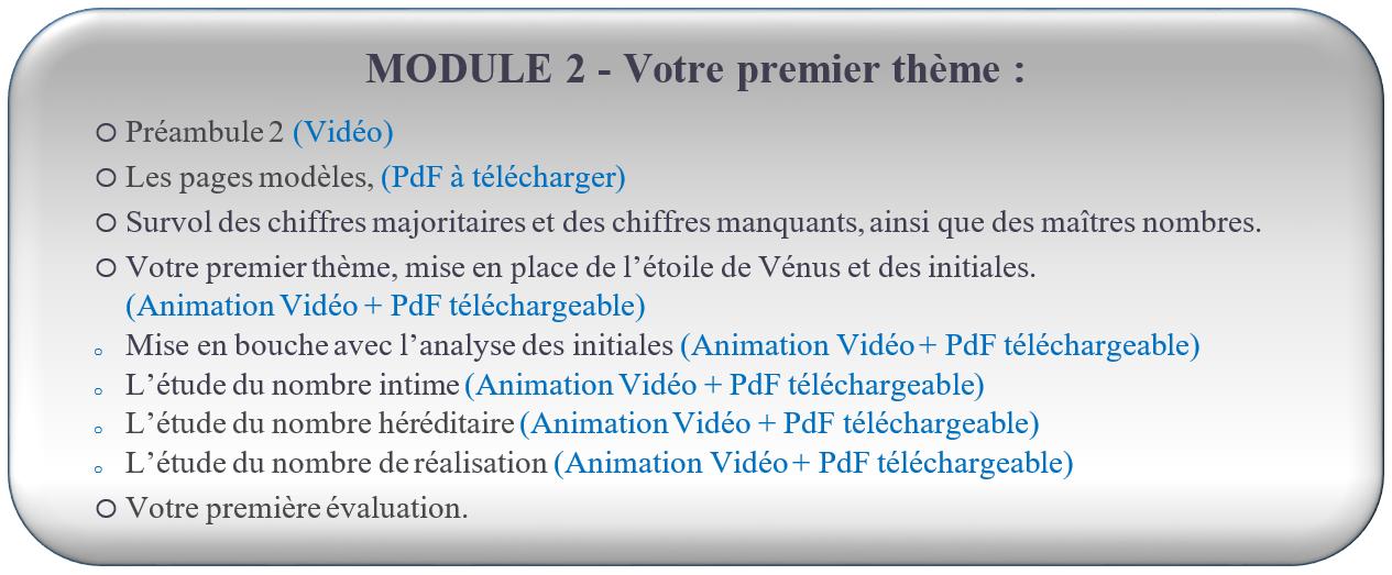 MODULE 2 – Votre premier thème : FORMATION NUMÉROLOGIE GRATUITE Réception du lien d'accès dès l'inscription                                                      oPréambule 1 (Vidéo) oLes pages modèles. (PdF à télécharger) oLe survol des chiffres majoritaires et des chiffres manquants, ainsi que de maîtres nombres. oVotre premier thème, mise en place de l'étoile de Vénus et des initiales. (Animation vidéo + PdF à télécharger) oMise en bouche avec l'analyse des initiales. (Animation vidéo + PdF à télécharger) oL'étude du nombre intime. (Animation vidéo + PdF à télécharger) oL'étude du nombre héréditaire. (Animation vidéo + PdF à télécharger) oL'étude du nombre de réalisation. (Animation vidéo + PdF à télécharger) oVotre première évaluation
